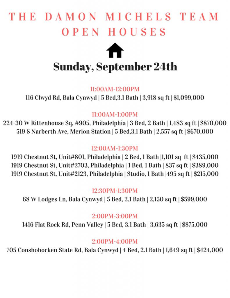 It's a spectacular day forhouse hunting! Stop by theDamon Michels Teamopen houses!